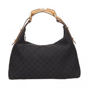 Gucci Black Monogram Canvas Horsebit Shoulder Bag