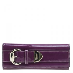 Gucci Purple Patent Leather Buckle Clutch