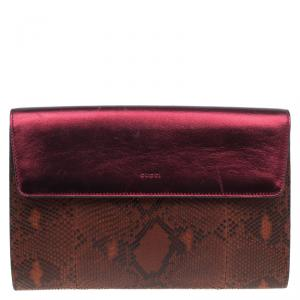 Gucci Burgundy Python/Leather Broadway Clutch