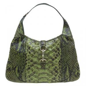Gucci Green Python Jackie O Bouvier Hobo