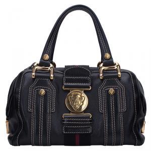 Gucci Black Pebbled Leather Medium Aviatrix Boston