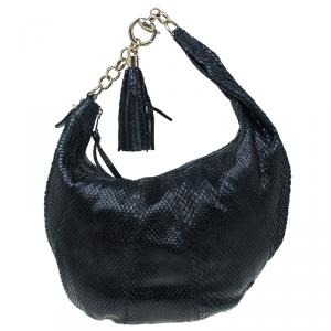 Gucci Black Python Medium Tassel Horsebit Sienna Hobo
