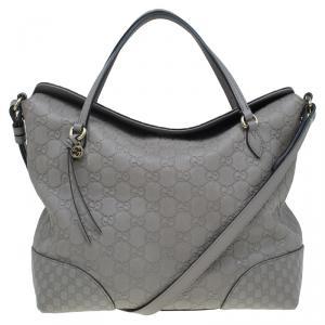 Gucci Grey Guccissima Leather Medium Bree Top Handle Bag