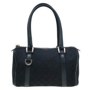 Gucci Black GG Canvas Small Abbey Boston Bag