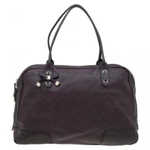 Gucci Dark Brown Guccissima Leather Large Princy Boston Bag