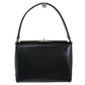Gucci Black Leather Vintage Top Handle Bag