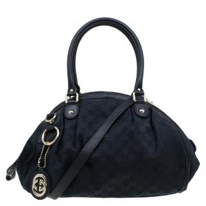 Gucci Black GG Canvas Medium Sukey Boston Bag