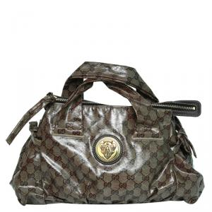 Gucci Beige/Ebony GG Crystal Coated Canvas Small Hysteria Satchel