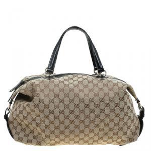 Gucci Beige/Ebony GG Canvas Medium Full Moon Boston Bag