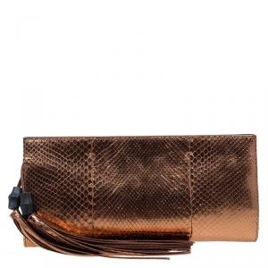 Gucci Bronze Python Large Tassel Clutch