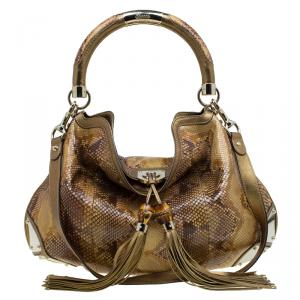 Gucci Metallic Gold Python Large Indy Top Handle Bag