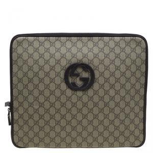 Gucci Beige/Brown GG Supreme Canvas Interlocking Logo Laptop Case