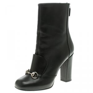 Gucci Black Leather Horsebit Ankle Boots Size 36