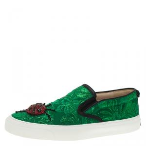 Gucci Green Brocade Crystal Lady Bug Slip On Sneakers Size 37.5