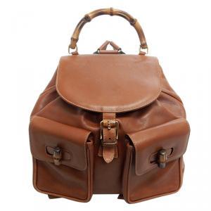حقيبة ظهر غوتشي بامبو جلد بنية