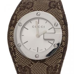 Gucci White Stainless Steel U Play Canvas Women's Wristwatch 31MM
