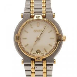 Gucci Cream Gold-Plated Stainless Steel 9000L Women's Wristwatch 25MM