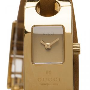 Gucci beige Gold-Plated Stainless Steel O-Frame Women's Wristwatch 16MM
