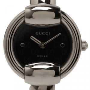 Gucci Black Stainless Steel 1400L Women's Wristwatch 25MM