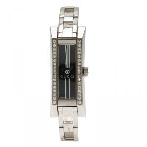 Gucci Black Stainless Steel Diamond G-Link Women's Wristwatch 14MM