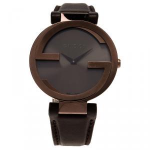 Gucci Brown Stainless Steel Interlocking G Women's Wristwatch 38MM
