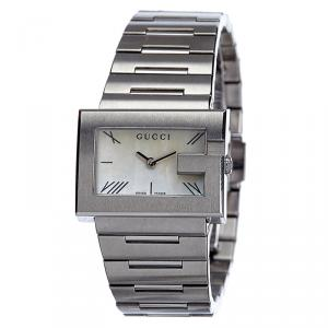 Gucci White Mother of Pearl Stainless Steel G Series Women's Wristwatch 30MM