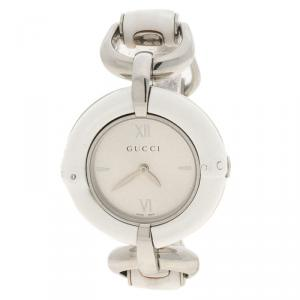 Gucci Silver White Bamboo Stainless Steel 132.4 Women's Wristwatch 36MM