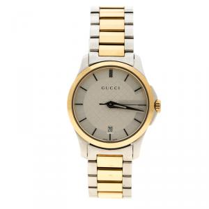Gucci Silver Two Tone Stainless Steel G- Timeless YA126531 Women's Wristwatch 27mm