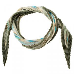 Hermes Green Plisse Silk Scarf