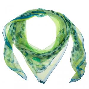 Hermes Green Casques et Plumets Silk Square Scarf
