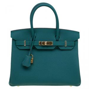Hermes Malachite Togo Leather Gold Hardware Birkin 30 Bag