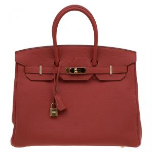 Hermes Vermillion Togo Leather Gold Hardware Birkin 35 Bag