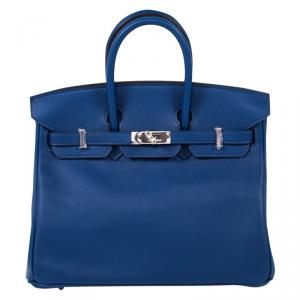 Hermes Navy Blue Swift Leather Palladium Hardware Birkin 25 Bag