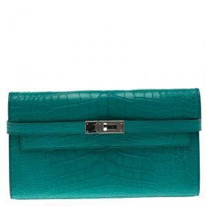 محفظة هيرمس كيلي طويلة جلد تمساح بيون زرقاء