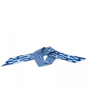 Hermes Indigo Ciel H Print Twilly Silk Bandeau Scarf