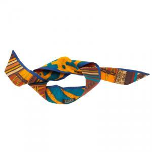 Hermes Multicolor Pelages Et Camouflage Twilly Silk Bandeau Scarf