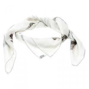 Hermes White Silk A Propos de Bottes Square Scarf