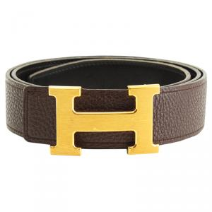 Hermes Brown and Black Leather H Buckle Reversible Belt 85CM
