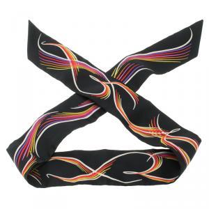 Hermes Black Silk Multicolor Print 24 Fauborg Twilly Bandeau Scarf