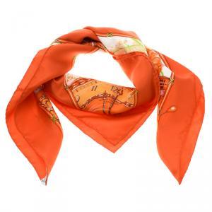 Hermes Orange Printed Silk Pour Vacheron Constantin Square Scarf