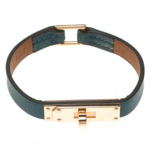 Hermes Micro Kelly Blue Leather Rose Gold Plated Narrow Bracelet XS