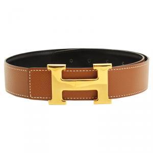 Hermes Black and Brown Leather H Buckle Reversible Belt 65CM