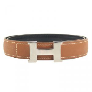 Hermes Brown and Black Leather Mini Contance Reversible Belt
