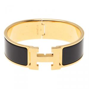 Hermes Clic Clac H Wide Enamel Black Gold-Plated Bracelet