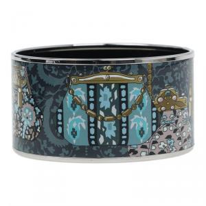 Hermes Extra Wide Printed Enamel Palladium Plated Bangle Bracelet