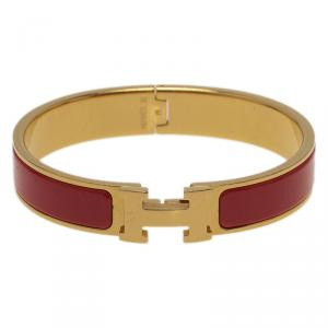 Hermes Clic Clac H Narrow Red Enamel Gold-Plated Bracelet GM