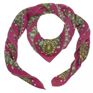 Hermes Pink Parures Des Maharajas Printed Cashmere and Silk Scarf