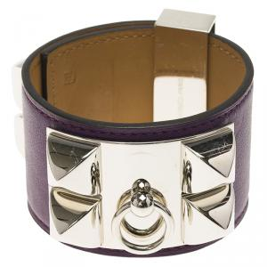 Hermès Collier de Chien Purple Calfskin Leather Palladium Plated Bracelet S