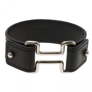 Hermes H Black Leather Palladium Plated Wide Bracelet M