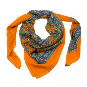 Hermes Chasse En Inde Orange Cashmere and Silk Shawl